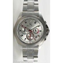 $495 Lucien Piccard Men Ss Chronograph Bracelet 28173sl