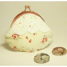 85mm Metal Frame Coin Purse Pouch - Little Red Flowers in Pale Yellow fabric with Cotton Lace