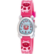 Activa Watches Juniors Mint Green Dial Coral Rubber With Cow Design C
