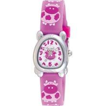 Activa Watches Juniors White Dial Dark Pink Rubber With Cow Design Da