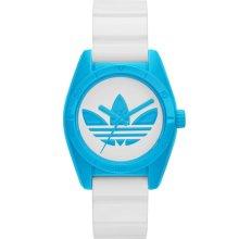 adidas Originals 'Santiago' Rubber Strap Watch, 32mm White/ Blue