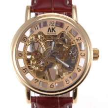 Ak-homme 18k Golden 12 Hours Carving Dial Leather Mens Mechanical Wristwatch