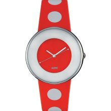 Alessi Unisex Automatic Watch With White Dial Analogue Display And Orange Leather Bracelet Al8013