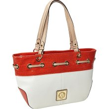 Anne Klein Preppy Classics Satchel Cream/Classic Orange