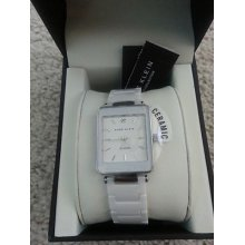 Anne Klein Women's Ak/1021wtwt White Ceramic Diamond Silver-tone Watch