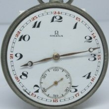 Antique 1920's Omega Open Face Pocket Watch 15 Jewels Nice Dial Swiss Made