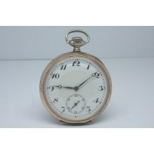 Antique Orta 0.800 Silver Two Tone Open Face Swiss Pocket Watch Great Dial 53mm