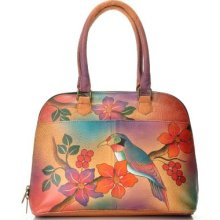 Anuschka Hand Painted Leather Zip Around Double Handled Satchel