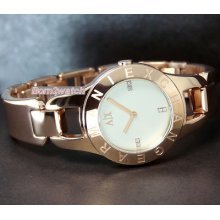 Armani Exchange Ladies Watch Polished Rose Gold Layered Steel Ax4091