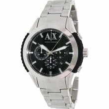 Armani Exchange Mens Chronograph Black Silicone Stainless Steel Watch Ax1213