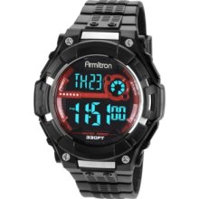 Armitron Watch, Mens Digital Black Polyurethane Strap 45x44mm 40-8243R