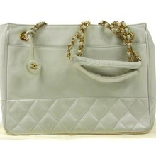 Auth Chanel Quilted Cc Logos Chain Shoulder Bag White Leather Vintage Ww05993