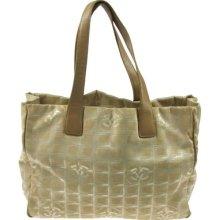 Auth Chanel Travel Line Hand Tote Bag Beige Jacquard Nylon Vintage 2b07092b