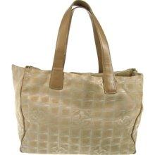 Auth Chanel Travel Line Hand Tote Bag Beige Jacquard Nylon Vintage W08963
