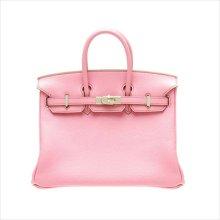 Auth. Hermes Birkin Bag 25cm Pink Togo Leather Silver Hardware