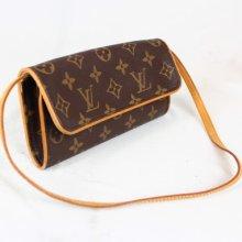Auth Louis Vuitton Monogram Pochette Twin Shoulder Clutch Bag France 1506