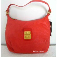 Auth Marc By Marc Jacobs Purse Dreamy Leather Logo Embossed Lil Elettra Hobo Bag