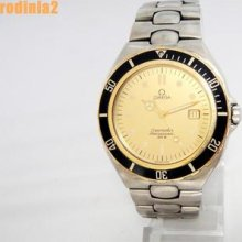 Auth Omega Mens Full Size Seamaster Gold Dial 18k & Ss Watch Quartz In Great