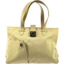 Auth Salvatore Ferragamo Brown Gancini Shoulder Tote Bag Beige Made In Itary