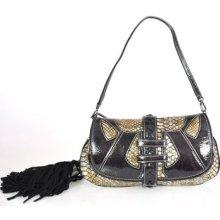 Authentic $445 Just Cavalli Leather Purse Clutch Shoulder Bag