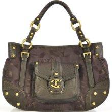Authentic $750 Just Cavalli Brown Logo Hobo Handbag Tote Shoulder Bag