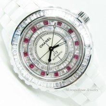 Authentic Chanel J12 White With Custom Baguette Diamond Bezel And Diamond Dial