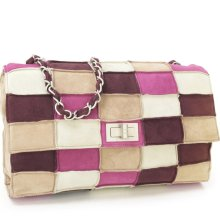 Authentic Chanel Pink Multicolor Patchwork Quilted Suede Flap Bag