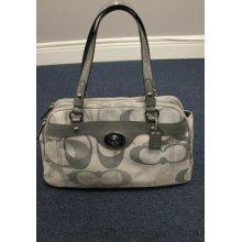 Authentic Grey Signature Coach Handbag