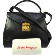 Authentic Salvatore Ferragamo Logos Black Evening Shoulder Hand Bag Leather