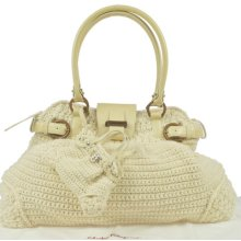 Authentic Salvatore Ferragamo Silver Gancini Shoulder Bag Knit Leather White