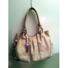 B. Makowsky 'christie' White Leather Satchel Shoulderbag Purse Tote Bag