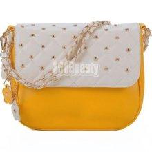 B5ut Women's Korea Contrast Vintage Pu Leather Simple Chain Tote/ Shoulder Bag
