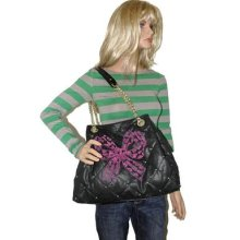 Betsey Johnson Key Item Tote Bag Studded & Quilted With Velvet Pink Bow