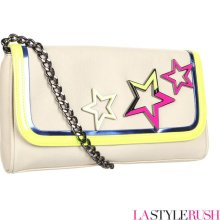 Betsey Johnson Neon Stars Crossbody Purse in Ivory