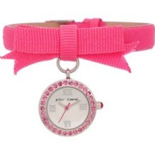 Betsey Johnson Pink Ribbon Bracelet Crystal Bj00110-01 Ladies Woman's Watch