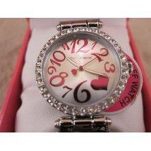 Betsey Johnson Silvertone Pink Glitter Cuff Braclet Watch Bj00163-01 $69