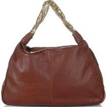 Beverly Feldman Leather Hobo Handbag W/ Mesh Strap