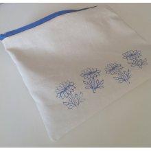 Blue Lotus Flower Pouch - Small Yoga Zipper Bag