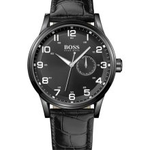 BOSS Black 'Aviator' Round Leather Strap Watch