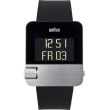 Braun Mens Prestige Digital LED Stainless Watch - Black Rubber Strap - Black Dial - BN-0106SLBKG