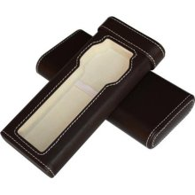 Brown Leatherette Cigar Style Travel Watch Case Storage Holds Wat ...