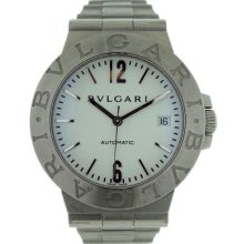Bulgari Diagono Lcv 38 S Mens Stainless Steel White Dial Automatic Bvlgari Watch