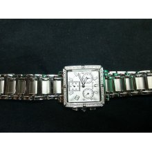 Bulova 96r000 16 Real Diamonds Chrono Ladies Watch White Dial Stainless Steel