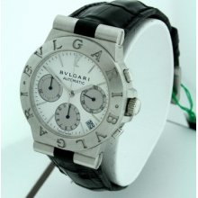 Bvlgari Diagono Chronograph With Date Rare 18k White Gold 35mm Men's Watch.