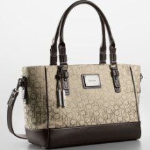 Calvin Klein Logo Jacquard City Shopper Tote Carryall Natural style no.36011552 - Jacquard - Other Beige - Large