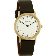 Calvin Klein Mens 31Mm Gold Tone Brown Leather Band Watch K1423.41