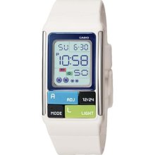 Casio 50m World Time Kids Ladies White Resin Poptone Lcd Digital Watch Ldf-50-7