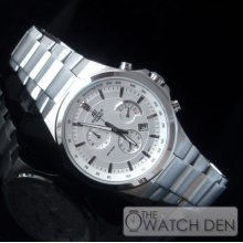 Casio - Edifice White Dial Sports Stainless Steel Watch - Efr-500d-7avdr