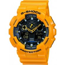 Casio men's G-shock GA100A-9A Limited Yellow Strap Watch