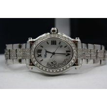 Chopard Happy Sport Oval Stainless Steel Diamond Encrusted Watch Ref:278546-3003